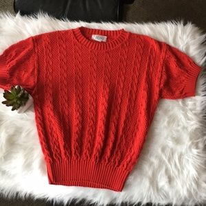 I rage open knit red sweater